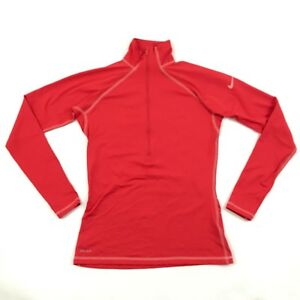 10c88e76 NIKE PRO 1/2 Zip Pullover Sz M Coral Red Long Sleeve Running Top ...