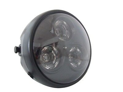 "Motorbike LED Headlight 7"" Matt Black fits Yamaha Cafe Racer & Scrambler Project"