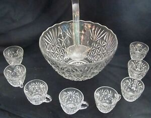 Huge Antique Cut Crystal Punch Bowl