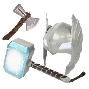 Avengers-LED-Glowing-Sounds-Thor-Hammer-Axe-Helmet-Mask-Kids-Cosplay-Toys-UK