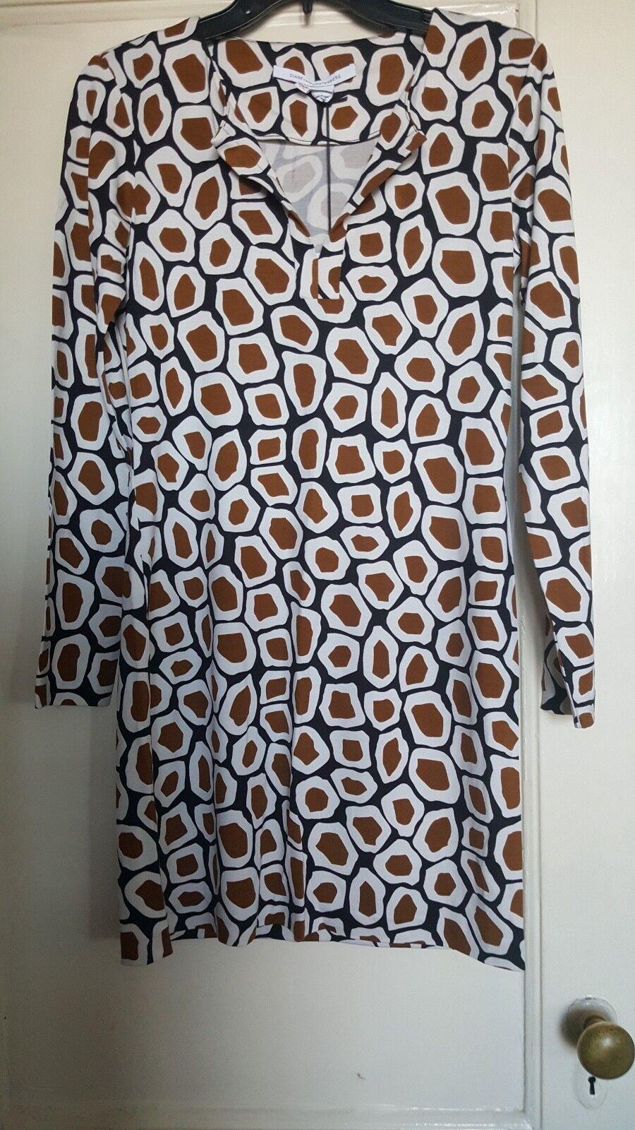 DVF Diane von Furstenberg NWT Reina LS stone medium medium medium leopard dress 4 bea598