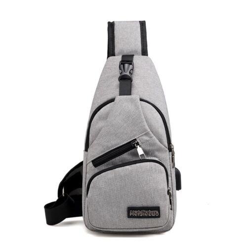 Men Shoulder Bags USB Charging Crossbody Anti Theft Chest Bag School Trip Bags