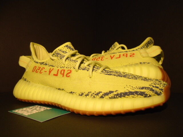 ADIDAS YEEZY BOOST 350 V2 KANYE WEST SEMI FROZEN YELLOW RAW STEEL RED B37572 10