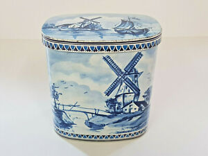 Rare-VINTAGE-GERMAN-DIRK-EDEN-Tin-Blue-White-Windmill-Ship-Design-Box-EXCELLENT