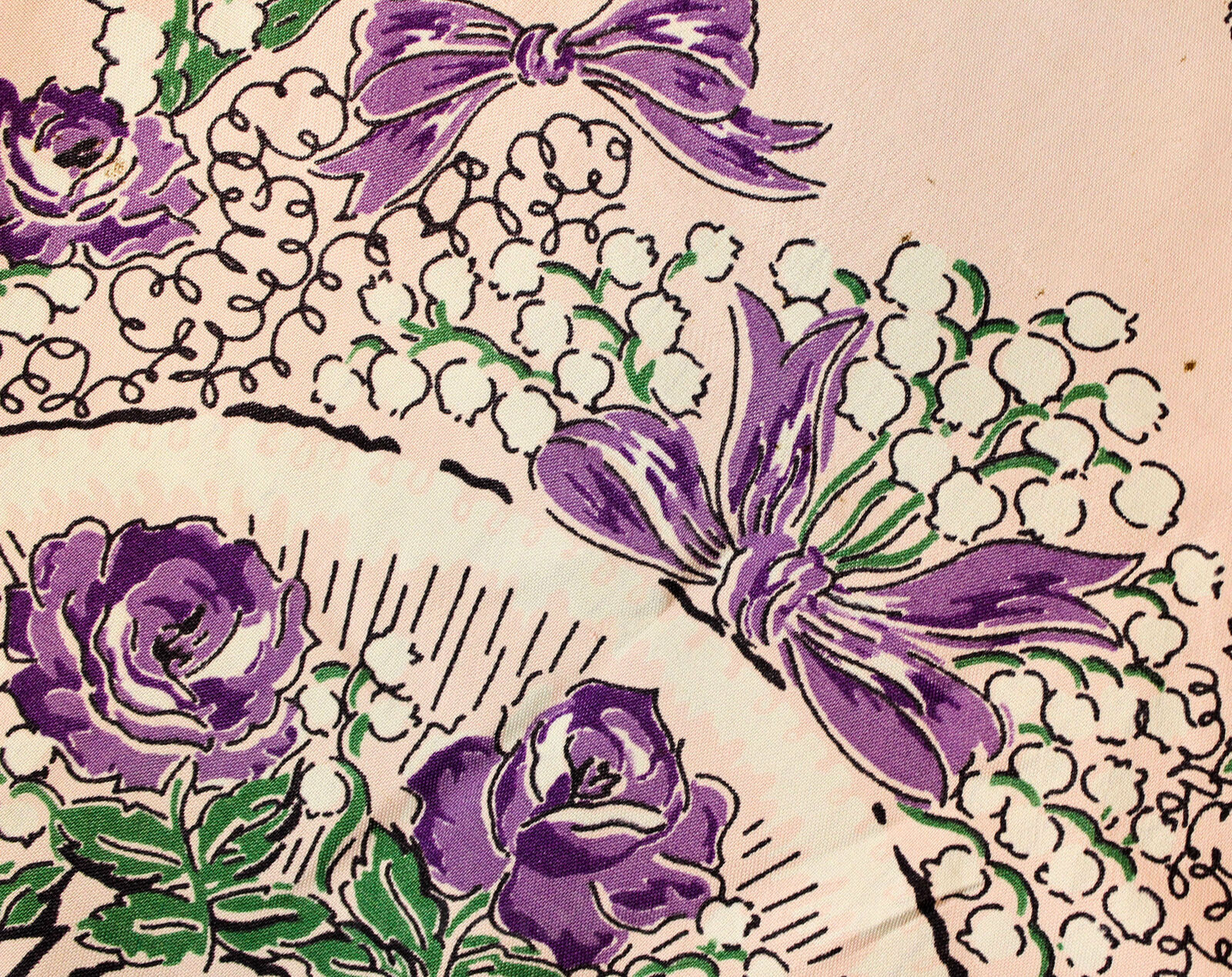 1940s Easter Bonnet Rayon Scarf - Purple & Pink R… - image 7