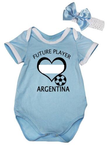 Future Player Argentina Blue Cotton Baby Romper Bodysuit Jumpsuit Set NB-18M