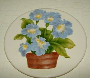 Vintage-Hyalyn-Ceramic-Tile-Blue-Flowers-round-Trivet-made-Wall-Decor-USA-NEW