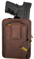 Brown Leather Concealment (ccw) Gun Pack Belt Holster For Taurus Pt 709 740 Slim