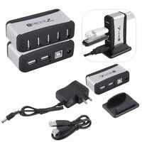 7 Port USB 1.1 2.0 High Speed Hub + US Plug AC Power Adapter for PC Laptop F7