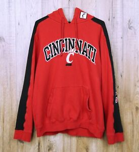 VINTAGE-Cincinnati-Bearcats-USA-Felpa-con-cappuccio-taglia-L-rosso-nero-con-Patch-Maglione-Con