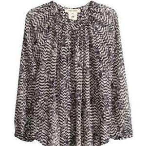 5fdbf6298f5f9f Details about Isabel Marant Pour for H&M Black White Silk Chiffon Peasant Tunic  Blouse Top