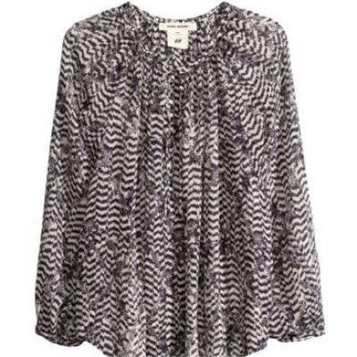 Isabel Marant Pour for H&M Black White Silk Chiffon Peasant Tunic Blouse Top