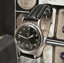 C' 44 ANTIQUE VINTAGE WWW OMEGA WW2 MILITARY BLACK DIAL WRIST WATCH  SERVICED
