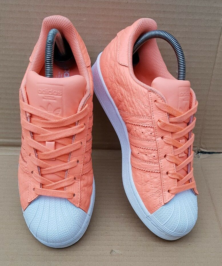 BRAND NEU ADIDAS SUPERSTAR TRAINERS SIZE 5 UK RARE ORANGE REPTILE SKIN GORGEOUS