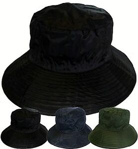Bush-Hat-Bucket-Showerproof-Rain-Wide-Brim-Black-Navy-Green-Mens-Ladies-Womens