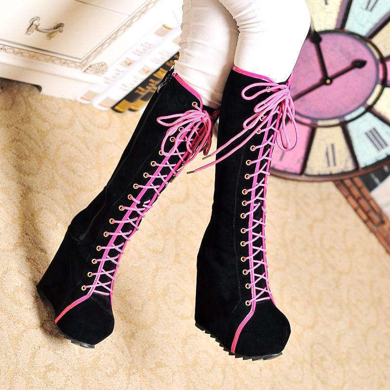 Women Sexy Platform Wedge Heel Lace Up Hidden Heel Winter shoes Knee High Boots