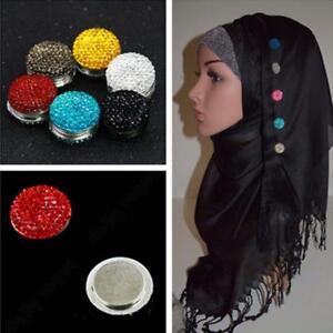 Magnetic Round Hijab Headscarf Abaya Clasp Brooch Shawl Hot Scarf Accs Crys CL