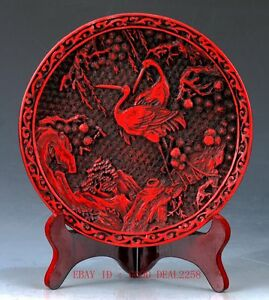 Chinese-lacquerware-Handwork-Carved-Crane-amp-Flower-Collection-Plate-QQ12-a