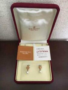 MIKIMOTO-Auth-K18YG-about-7mm-Akoya-Pearl-amp-Diamond-Earrings-Used-from-Japan