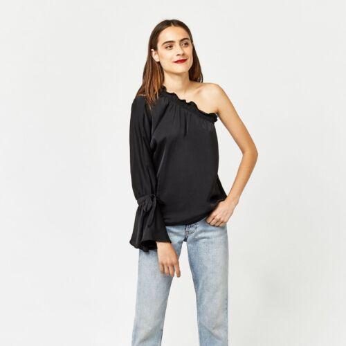 New £36 Uk One Black Size Ladies Sleeve Rrp Warehouse Long Top Shoulder 10 7Z7Xrz