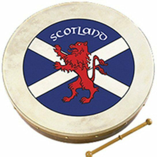 Waltons 12  Scottish Flag Crest Design Bodhrán Bodhran Drum and Tipper Beater