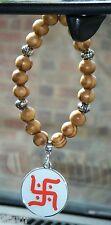 In Car Hindu Swastika Pendant (Not WW2) Charm & Coffee Stripe Wood Wooden Beads
