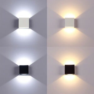 Details About Modern Led Wall Lights Up Down Cube Indoor Outdoor Sconce Lighting Lamp Fixture