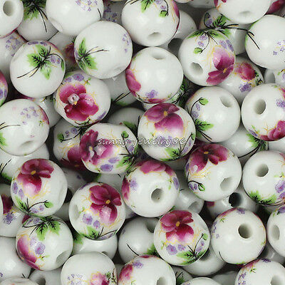 Wholesale 50pcs Red Flower Round Ceramic Porcelain Loose Spacer Beads 10mm,12mm