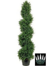 4' Artificial Rosemary Spiral Christmas Tree Plant Outdoor Bush & Holiday Lights