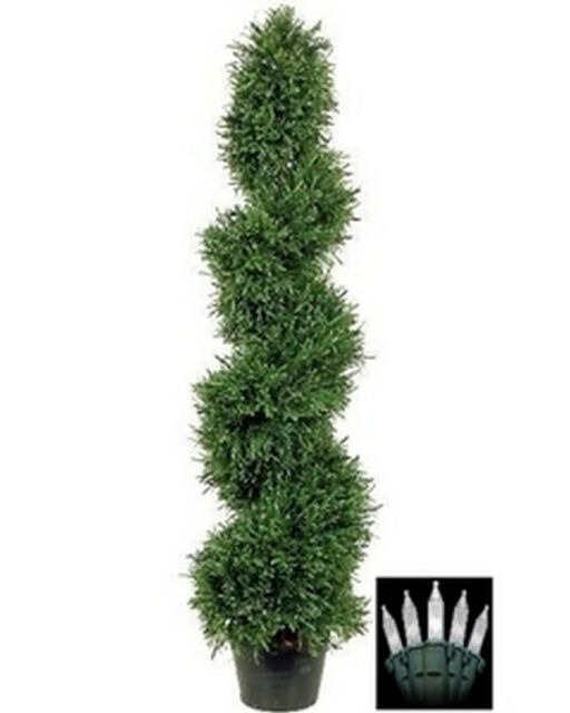 Potted Christmas Trees For Sale: One 4 Foot Artificial Rosemary Spiral Slim Topiary Tree