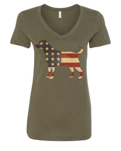 American Dog Women/'s V-Neck T-Shirt Stars and Stripes Retriever Bulldog Pitbull