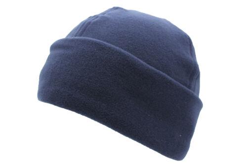 Unisex Navy Blue Polar Fleece Winter Ski Bob Hat Warm Cuffed Beanie