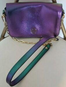 Tory Burch Robinson Hologram Iridescent Chain Crossbody Bag Purple Ebay