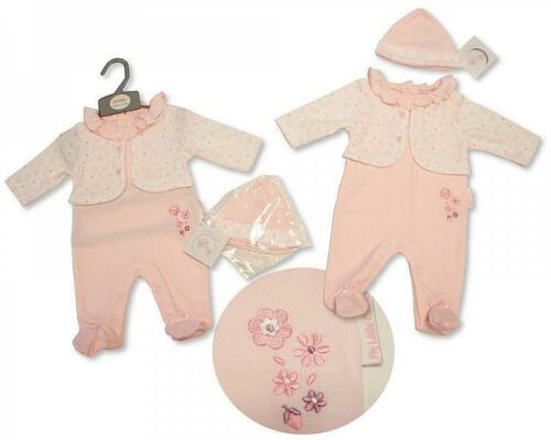 Baby Girl Spanish Romany style outfit  All in one  sleepsuit Hat  Pink NB 0-3 m