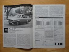 OPEL Manta Mk1 (Sharknose) 1.6S original road test brochure - Motor mag 1970