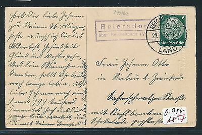 vogtl Kte 1933 92678 Dr > Ddr Landpost Ra2 Beiersdorf über Reichenbach