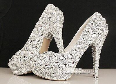 Womens Bridal Rhinestone High Stilettos pumps platform Heels Wedding Party Shoes