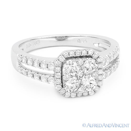 0.92 ct Round Brilliant Cut Diamond Pave Right-Hand 14k White gold Fashion Ring