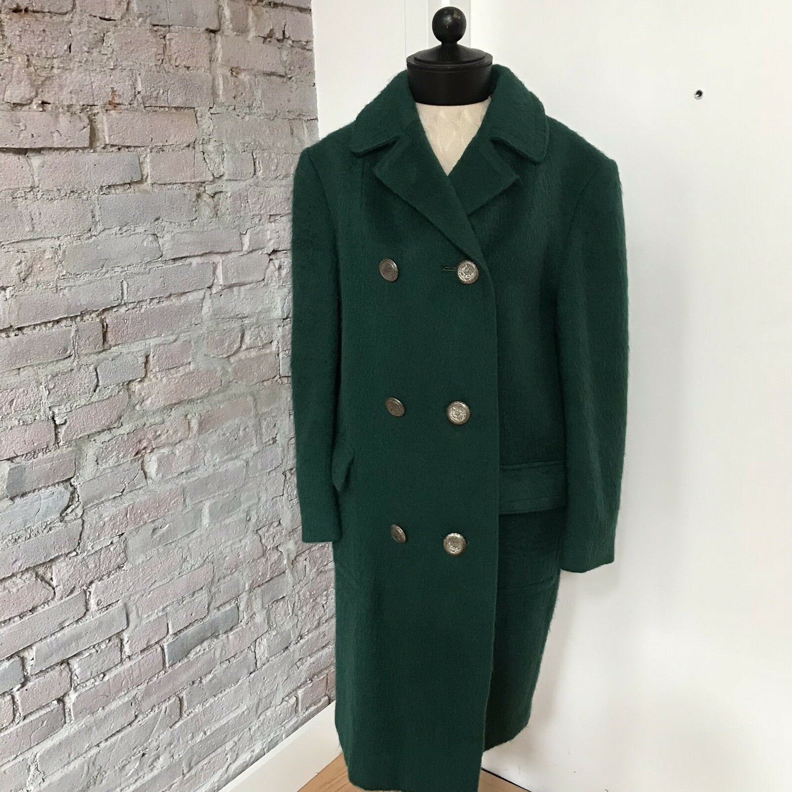9a00ee0ede36 Vintage 1842 Austria WOOL Peacoat Double Breasted M Green LODENFREY ...