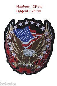 Patch tissus Aigle US à coudre ou à coller au fer à repasser (29x25 cm)