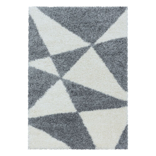 Salon Shaggy Tapis Soft Gris Triangle Motif D/'un épais Designer Tapis