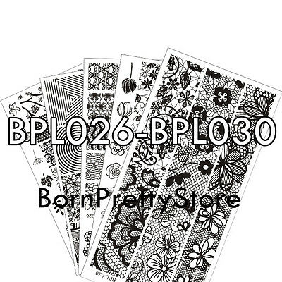 5Pcs BORN PRETTY BPL026-030 Nail Art Manicure Stamping Template Image Plates Kit