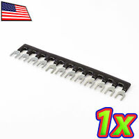 [1x] 12 Postions Insulated Terminal Block Jumper Shunt Strip Black 400v 10a