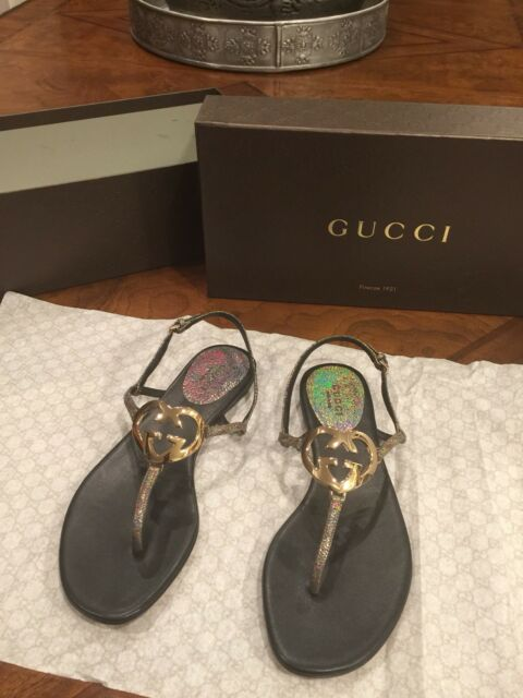 8cb81eb81dc1f9 BNIB Authentic Gucci Metallic Leather GG Interlocking HEART Thong Sandal SZ  36 6