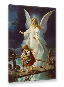 Postereck-Leinwand-0154-Schutzengel-und-Kinder-Altes-Gemaelde-Engel-Religion
