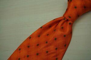 Brioni-Apricot-Pumpkin-Geometric-3D-Looking-Silk-Glossy-Handmade-in-Italy-Tie