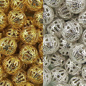 GOLD-amp-SILVER-PLATED-Metal-FILIGREE-Spacer-BEADS-Choose-4mm-6mm-8mm-10mm-12mm