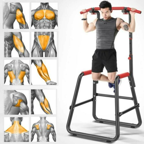 Adjustable Dip Station Chin Pull Up Bar Power Tower Workout Gym Fitness Core