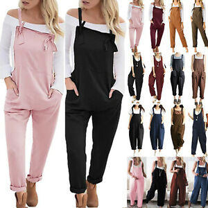 Women-Overalls-Loose-Dungarees-Ladies-Pocket-Cami-Romper-Baggy-Playsuit-Jumpsuit