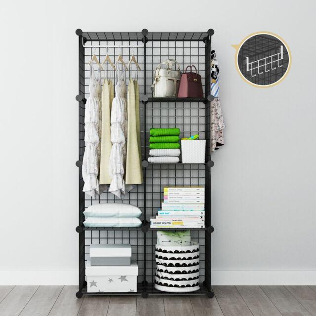Wire Storage Cubes Portable Wardrobe Organizer Modular Closet Shelf, 2x4  Tiers